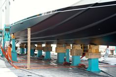 A full #paintcycle can be applied after having sanded the whole hull back to the gel-coat #shipyard #PortMirabello