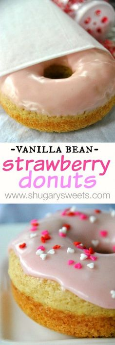 Vanilla Bean Strawberry Glazed Donuts: baked donuts that are ready in under 30 minutes. Pin to Baking board.