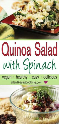 Quinoa Salad with Spinach Recipe - This quinoa salad is an easy to make dish perfect for lunch, on-the-go or for a light dinner. Loaded with flavor and vitamins this recipe will be one you want to share with family and friends. Vegan Lunch Recipes, Salad Recipes For Dinner, Healthy Recipes, Diet Recipes, Spinach Health Benefits, Spinach Salad, Quinoa Spinach, Quinoa Salat, Healthy Foods To Eat