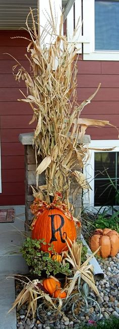 decorating with corn stalks for fall - Google Search