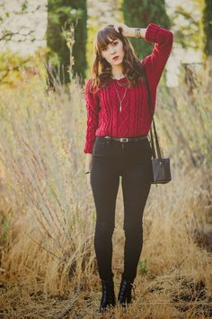Outfit inspiration; red cable knit jumper with high waisted black jeans