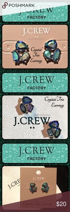 """🆕J. Crew Crystal Trio Earrings Stunning statement earrings in beautiful shades of Iridescent Purple. A gorgeous addition to your wardrobe adding glamour and class. Perfect for work, casual or a special night on the town. Very chic, very sophisticated. Retails for $23.   Details: 🔸Color: Purple Iridescent  🔸Post styling. 🔸Material: Zinc, epoxy stone, glass stone. 🔸Light gold on flash plating. 🔸Measures: 1/2""""L x 1/2""""W. J. Crew Jewelry Earrings"""