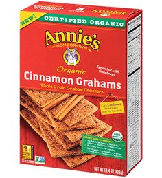 Delicious, wholesome, & fun! Certified organic Cinnamon Graham Crackers are sprinkled with cinnamon, spice, and everything nice.