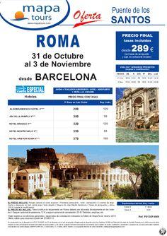 Puente de Todos los Santos Roma salida Barcelona 31 Octubre **Precio Final desde 289** - http://zocotours.com/puente-de-todos-los-santos-roma-salida-barcelona-31-octubre-precio-final-desde-289/