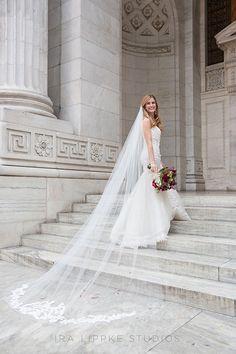 New York Public Library Wedding, Long Veil with Lace Trim   Brides.com
