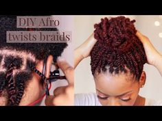 Afro kinky twist braids on natural hair Afro Kinky Braids, Afro Twist Braid, Afro Wigs, Afro Ponytail, Hair Twists, Afro Wedding Hairstyles, Afro Kinky Hairstyles, Twist Hairstyles, Black Hairstyles