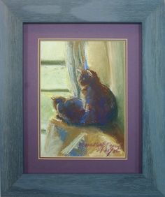 The sunny upstairs window framed original pastel by portraits of animals on etsy