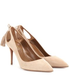 Aquazzura - Forever Marilyn 85 suede pumps - Aquazzura's Forever Marilyn 85 pumps speak for themselves. The classic silhouette is cut from butter-soft suede in an understated nude hue. Cut-outs and tassel detailing to the back, along with a mid heel and pointed toe, keep them right in line with the house's sophisticated, sexy aesthetic. seen @ www.mytheresa.com