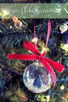 DIY Snow Globe Ornament with Bottle Brush Tree - Christmas Craft