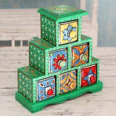 Novica Handcrafted Mango Wood 'Verdant Holi' Decorative Box with Drawers