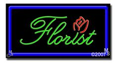"Florist Neon Sign - 20"" x 37""-ANS1500-0588-R  37"" Wide x 20"" Tall x 3"" Deep  Flashing Border ""ON/OFF"" switch  Sign is mounted on an unbreakable black or clear Lexan backing  Top and bottom protective sides  110 volt U.L. listed transformer fits into a standard outlet  Hanging hardware & chain included  6' Power cord with standard transformer  For indoor use only  1 Year Warranty on electrical components."