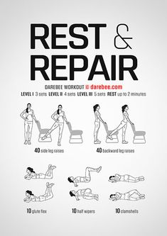 Rest and Repair os the go-to workout you reach for when your body is looking to revitalize itself. Weight Loss Workout Plan, At Home Workout Plan, At Home Workouts, Hiit, Cardio, Darebee, Workout Challenge, Darbee Workout, Workout Sheets