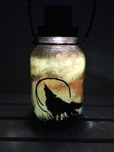 Large Wolf in the Desert, Mason Jar Light, Outdoor Solar Light, Hand Painted Mason Jar, Hanging Lantern, Quart Size, Outdoor Lighting by CareBaresCreations, $18.95