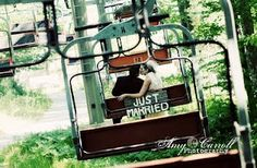 Wedding photography -- love the sign! Chairlift shot!