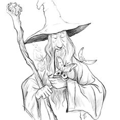 Gandalf the Grey designed by Dave Mottram. Connect with them on Dribbble; Wizard Drawings, Fantasy Drawings, Pencil Art Drawings, Cool Art Drawings, Art Drawings Sketches, Cartoon Drawings, Fantasy Art, O Hobbit, Gandalf