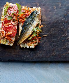 Chef Recipes, Fish Recipes, Pomegranate Molasses Dressing, Ciabatta Roll, Sarnies, Mackerel Recipes, Just Cooking, Fish And Seafood, Street Food