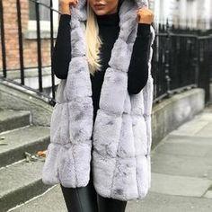 Women's Casual Hooded Faux Fur Vest Coat Vest Coat, Fur Coat, Vest Jacket, Grey Vest, Hooded Vest, Fleece Vest, Faux Fur Vests, Looks Style, Fashion Outfits