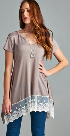 Taupe Tee with Lace Details