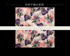 Colorful Big Rose Print Stretch Silk Fabric Designer Fashion