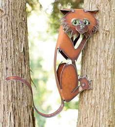 Rusty Metal Cat Sculptures | climbing-cat-outdoor-metal-wall-sculpture