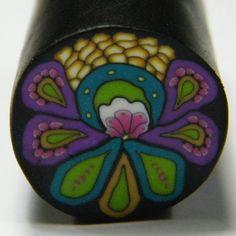 Purple Teal Lime flower cane  polymer clay by daniellartspolyclay, $7.50