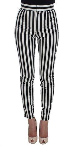 Black White Striped Cotton Stretch Jeans