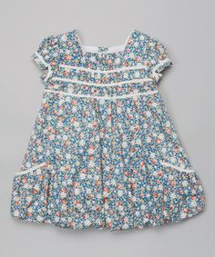 Look at this #zulilyfind! Blue Floral Cap-Sleeve Dress - Infant & Toddler by P'tite Môm #zulilyfinds