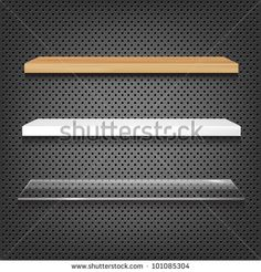 3 Shelves On Abstract Metal Background, Vector Illustration - 101085304 : Shutterstock