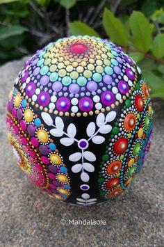 Image of Egg-shaped Mandala painted stone 2
