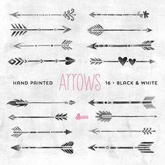 Blanc & noir flèches Clipart. Tribal éléments par OctopusArtis