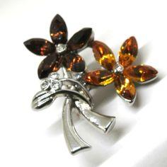 Rhinestone Flower Brooch - Vintage, Silver Tone, Amber Colored Rhinestone Floral Pin by MyDellaWear on Etsy $18