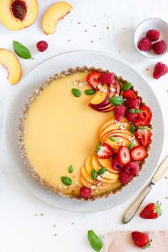 Peach Tart Recipes For Cakes, Easy Recipes For Desserts, Food Recipes Summer, Gluten Free Recipes Summer, No Bake Summer Desserts, Gluten Free Peach, Gluten Free Banana, Mini Dessert Recipes, Banana Recipes