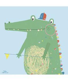 Tableau chambre d'enfant crocodile