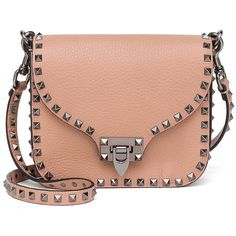 Valentino Rockstud Leather Shoulder Bag (14,820 GTQ) ❤ liked on Polyvore featuring bags, handbags, shoulder bags, apparel & accessories, genuine leather purse, red leather handbags, structured handbags, valentino purses and genuine leather shoulder bag