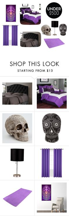 """""""Black and Purple Bedroom Makeover Under 500"""" by opalmcentire on Polyvore featuring interior, interiors, interior design, home, home decor, interior decorating, Baxton Studio, Cambridge Home, ORE International and Sun Zero"""