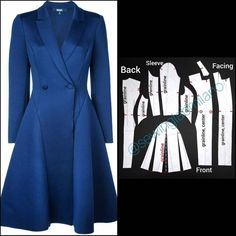 Coat Patterns, Dress Sewing Patterns, Clothing Patterns, Pattern Draping, Blazer Pattern, Modelista, Double Breasted Jacket, Short Tops, Fashion Sewing