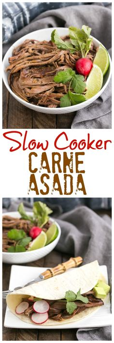 Slow Cooker Carne Asada | The classic Latin dish made in a slow cooker