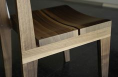 Detail of the Split Seat Chair in walnut by Henry Built. Well crafted within the great tradition of wooden furniture making.