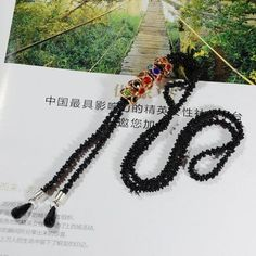 Exaggerate long pendant necklaces for women elegant black gold vintage necklace tassel waterdrop design necklaces gift #NL068