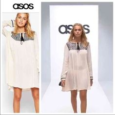 NWOT ASOS Cream Boho Swing Dress ASOS Boho Swing Dress With Mono Embroidery Size 4 Never worn, bought for a specific occasion and now laying in my closet  The fabric content is 100% viscose for the main part of the dress and 100% polyester trim  33 inches long  Thank you for looking and please check out the rest of my closet. ASOS Dresses