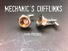 mechanics 10mm  nut cufflinks, great for any mechanic or just about anyone who loves building and tinkering