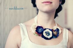 floral statement necklace custom designed for bride.  Rosy Posy Designs