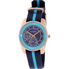 Iconic designer Michael Kors is one of the top names in American fashion, with fashion forward styles and bold designs. This women's watch from the Ryland collection features a blue nylon strap and blue dial.