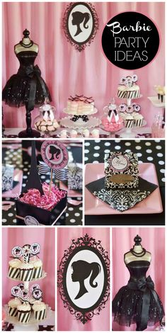 A black, white and pink Barbie girl birthday party with gorgeous decorations and desserts!  See more party planning ideas at CatchMyParty.com!