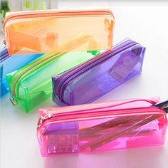 Transparente caixa de lápis material escolar material escolar papelaria estojo de menina doce sólida pencilcase estuches parágrafo lapices