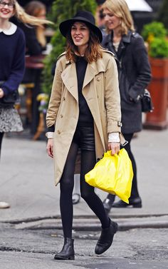 Make like Alexa Chung and team your fedora with an on trend trench coat http://www.asos.com/pgeproduct.aspx?iid=4062082