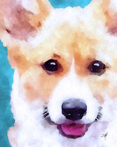 Pembroke Welsh Corgi Dog Art Print Corgi Wall by DwellaMahoneyArt