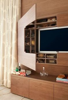 DVD storage can be difficult for small apartments and houses. Check out these 10 clever and easy DVD storage ideas for small spaces for a creativity push. Diy Dvd Storage, Storage Design, Storage Shelves, Storage Ideas, Smart Storage, Hidden Shelf, Hidden Storage, Extra Storage, Hidden Tv