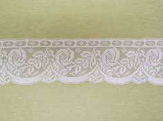 Vintage filet lace, wide off white lace with rose pattern, light weight lace