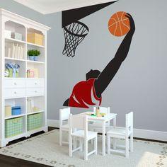 Basketball Player Slam Dunking - Vinyl Wall Art Decal for Homes, Kids Rooms, Nurseries, Preschools, Kindergartens, Elementary Schools, Middle Schools, High Schools, Universities, Colleges